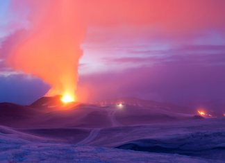hot magma coming out of Eyjafjallajokull volcanoes in Iceland
