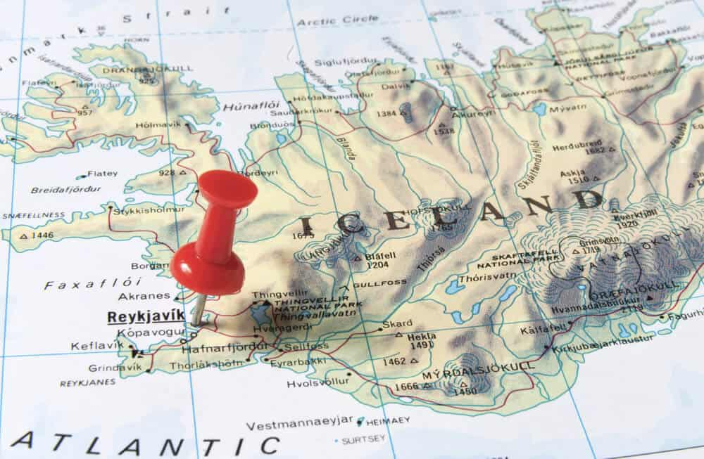 Iceland map with Reykjavik pinned while trying to figure out best time to visit