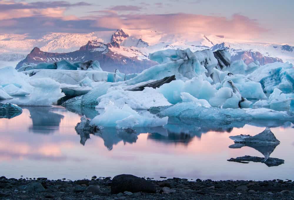 Jokulsarlon glacier lagoon in Iceland when visiting in winter