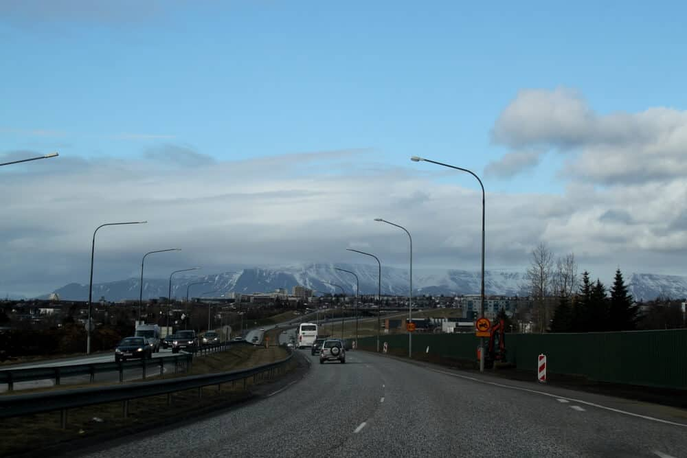 Driving in the highway with a campervan to Reykjavik