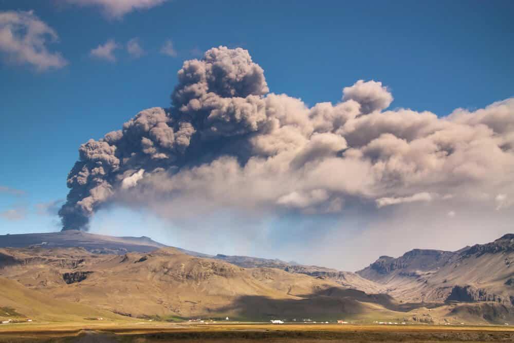 Eyjafjallajökul volcano erupting in Iceland