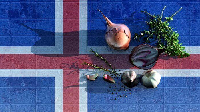 Icelandic herbs and spices with flag