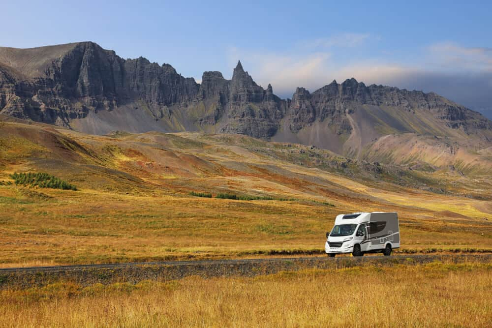 Motorhome on a road trip though Iceland