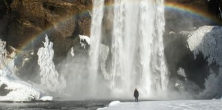 Waterfall during the winter time as seen in Iceland in february