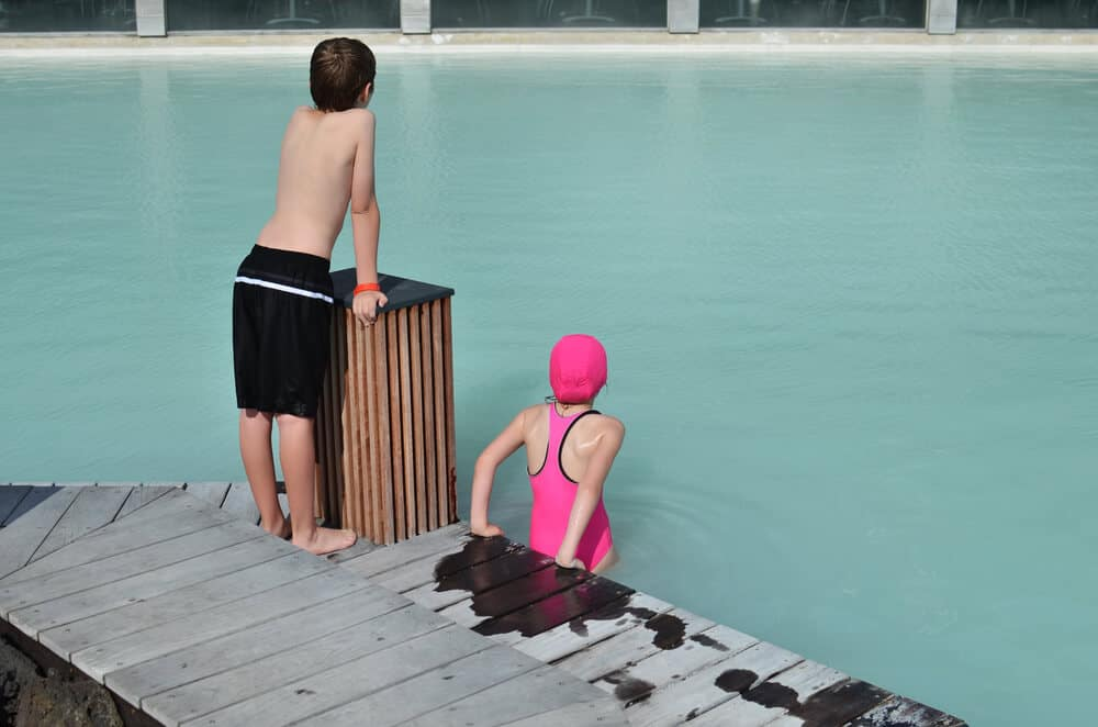 Children at Iceland's Blue Lagoon