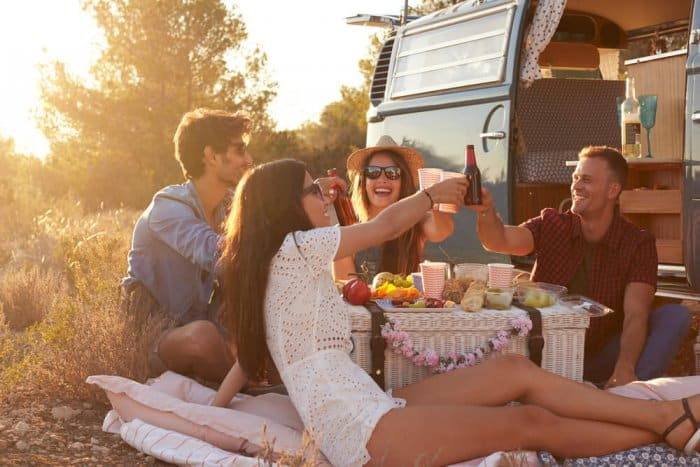Young people on a camper van road trip in Iceland
