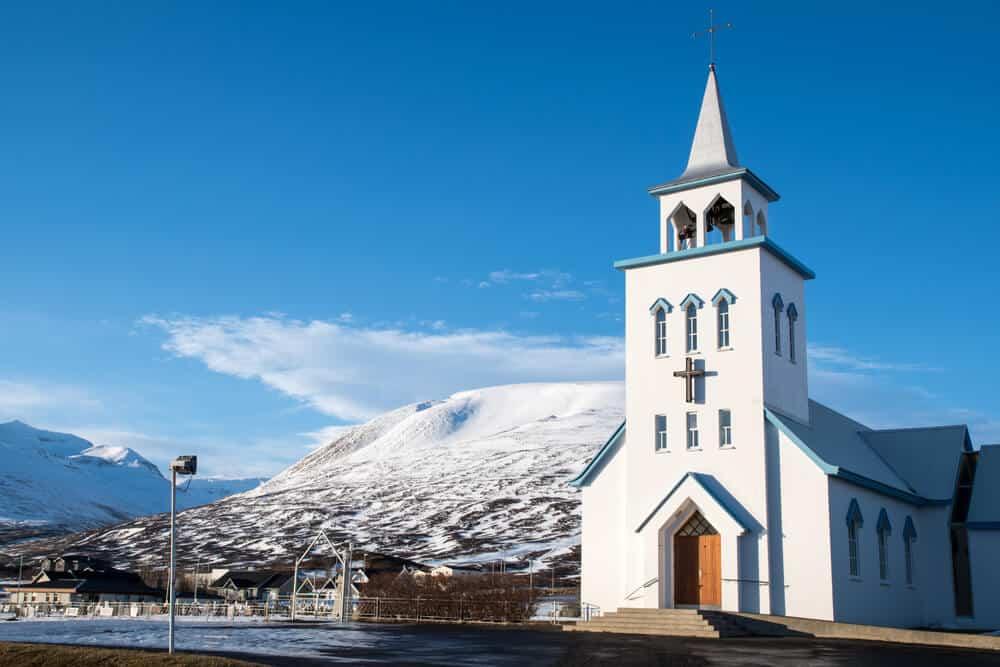 White Church in downtown dalvik
