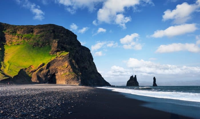 Iceland is famous for it's volcanic black sand beaches near the seaside town of Vík
