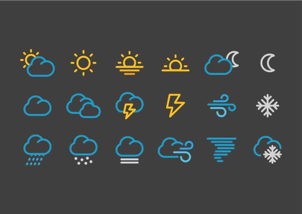 Iceland weather icons on black background