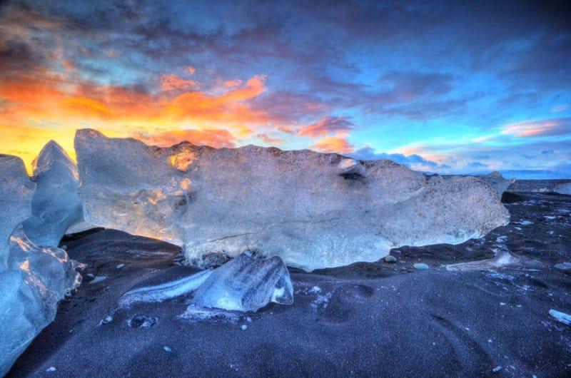 Icebergs on the Diamond Beach near Jókulsárlón Glacier Lagoon in Iceland