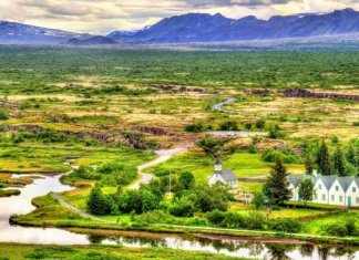 Thingvellir National Park panoramic view in summer