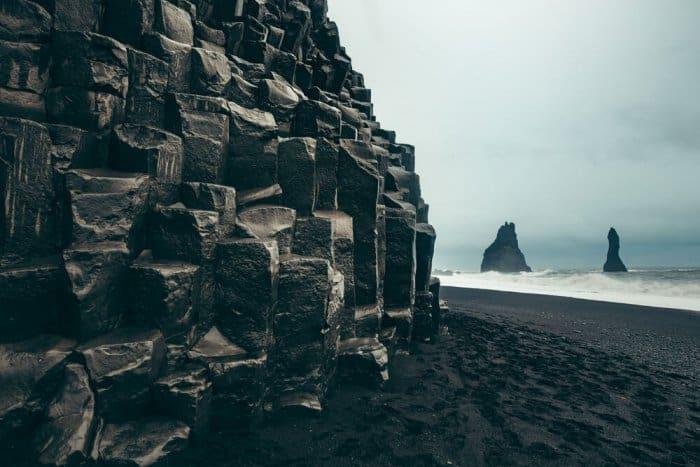 Reynisfjara beach has basalt columns