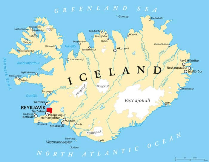 A map of Iceland showing the main areas and cities