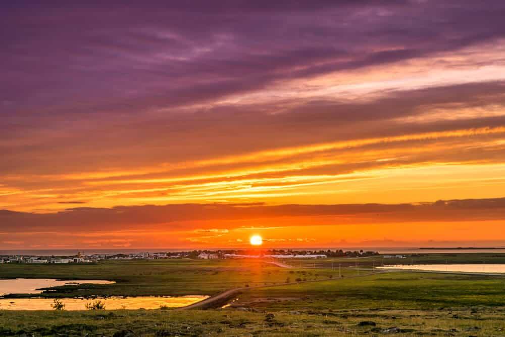 Midnight sun in Iceland on the horizon