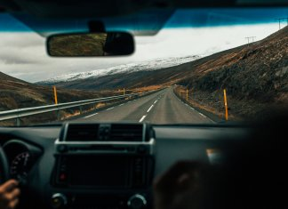 Views from inside of a car on a Road trip in Iceland