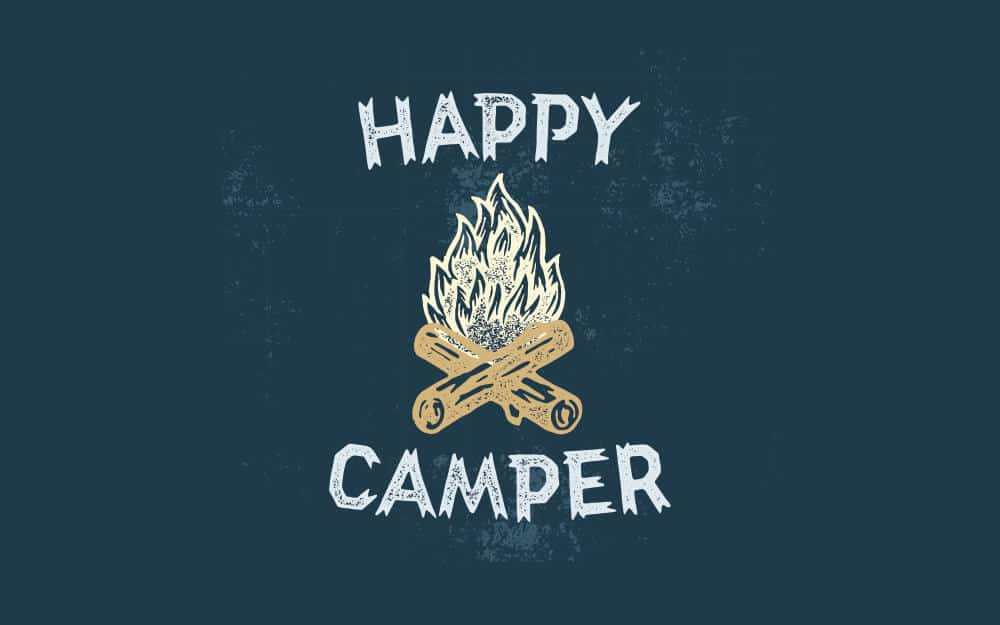 Happy camper with campfire illustration