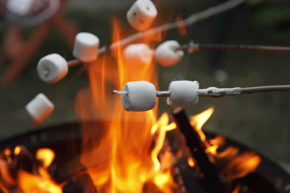 Roasting marshmallows while camping in Iceland