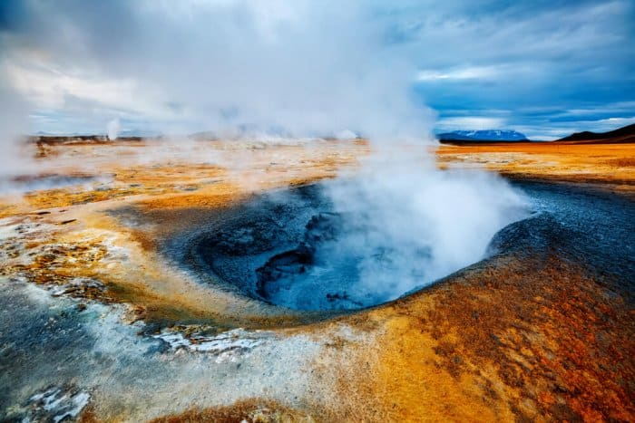 The bubbling mud pools at Hverir geothermal area look like something out of a martian landscape