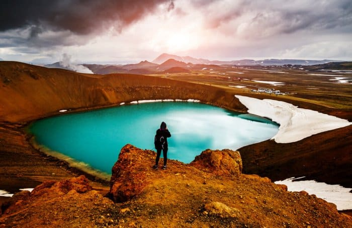 The Viti crater in the Krafla volcanic area is a must-see during your Diamond Circle itinerary