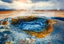 Bubbling mud at the Hverir geothermal area near Lake Mývatn