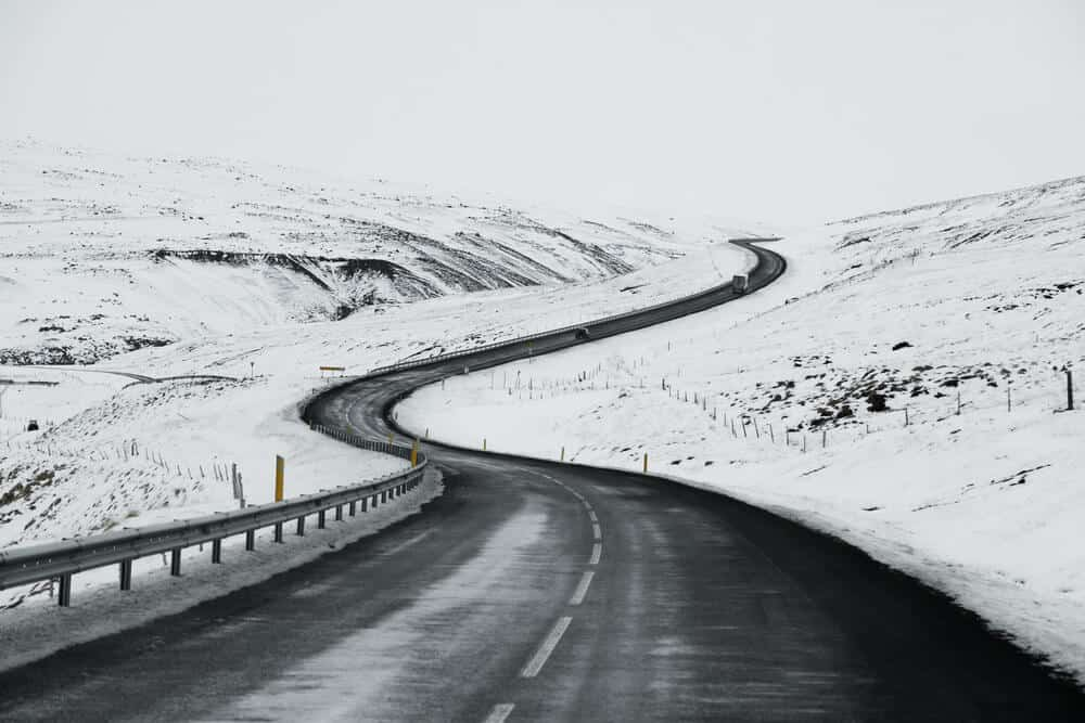 Icelandic road covered with snow