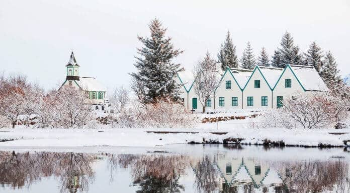 Typical Icelandic houses covered with snow in December