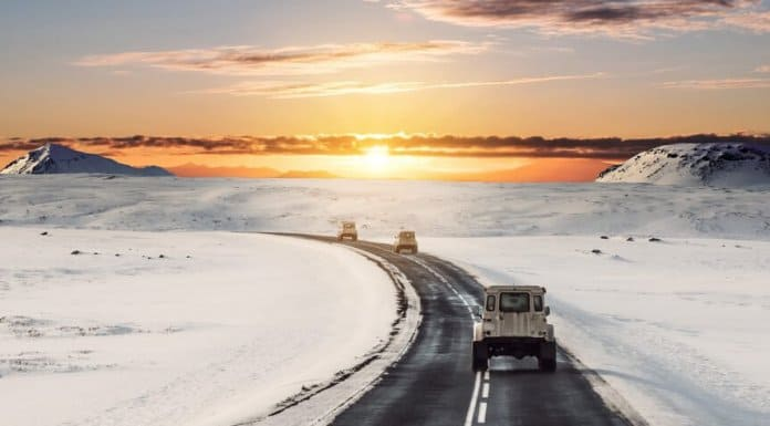 Driving in Iceland in winter on snowy roads
