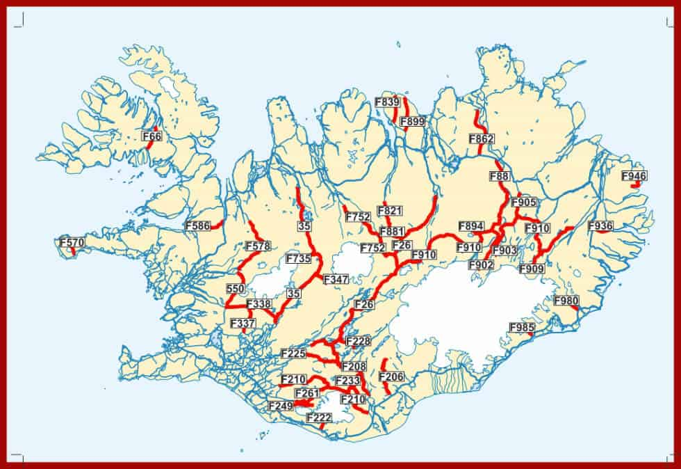 A map of Iceland's F-roads network of mountain roads