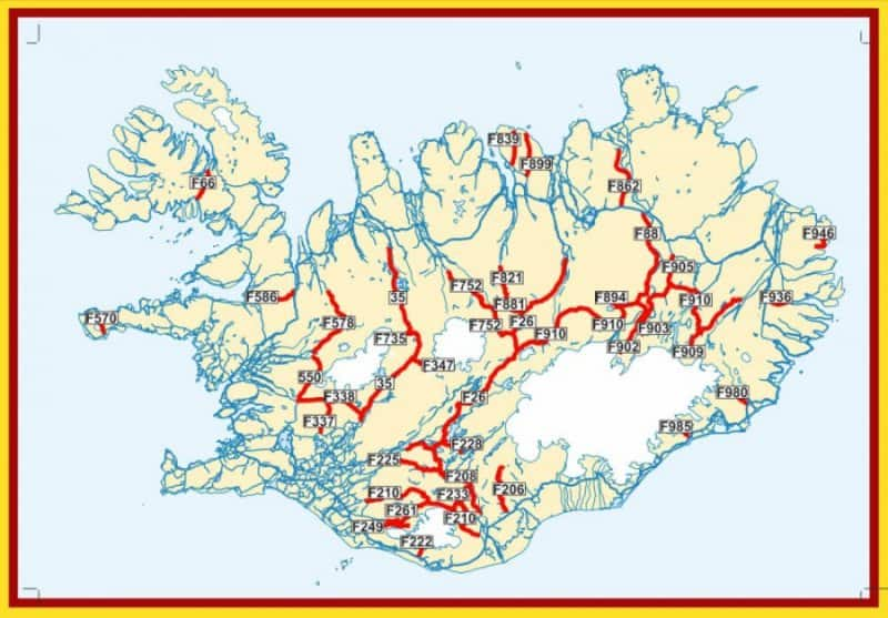 A map of Iceland\'s F-roads network of mountain roads - Camping in ...