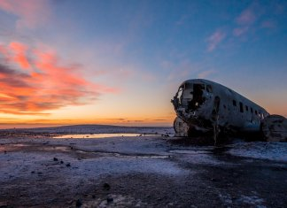 DC-3 plane wreck at Solheimasandur beach at the sun setting