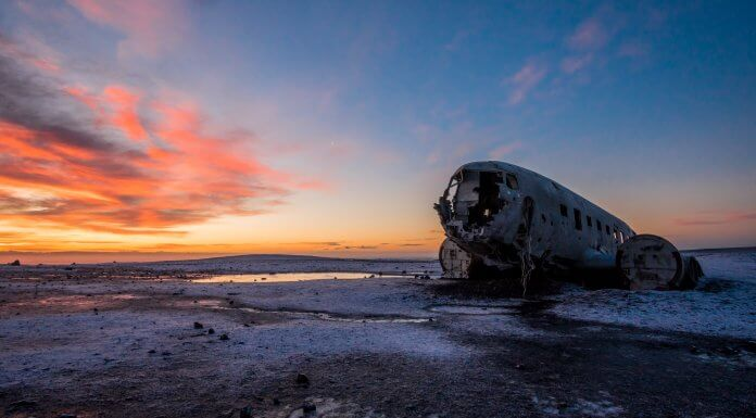 DC-3 plane wreck at Solheimasandur beach at the sun setting