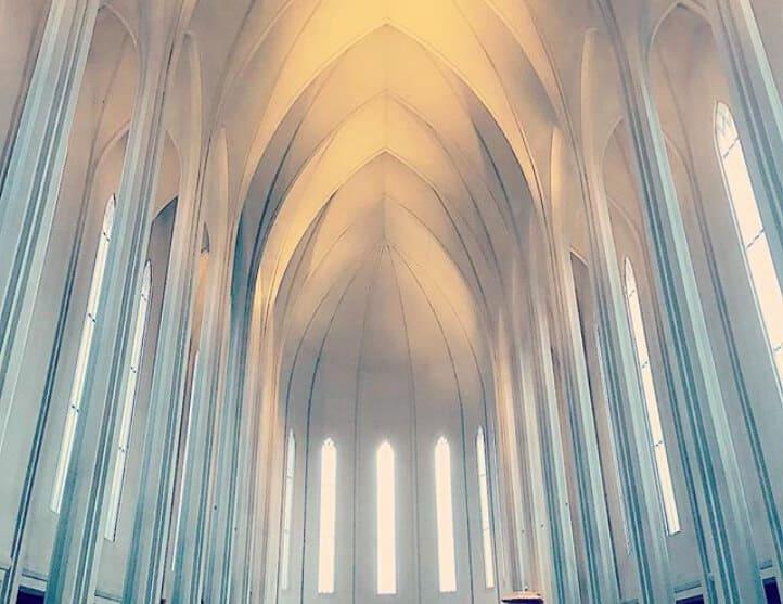 Interior of Hallgrímskirkja cathedral in Reykjavik