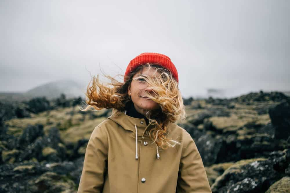 Iceland an get quite windy, just ask this young woman!