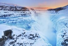 Visiting frozen Gullfoss waterfall is a great winter activity in Iceland
