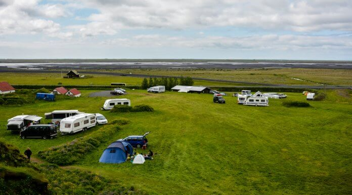 Cars, campervans and motorhomes at Iceland campsite