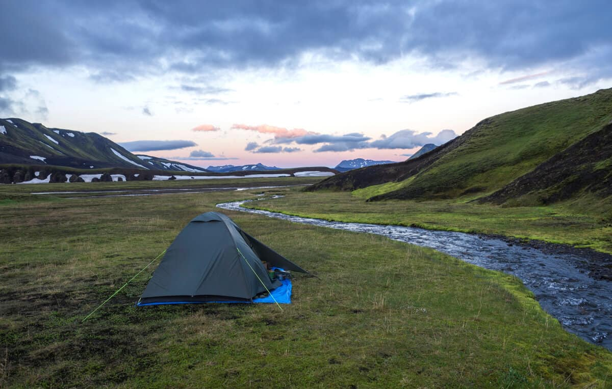 Tent in the middle of nowhere at an Icelandic campground