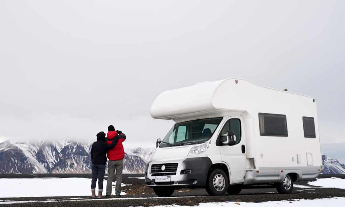 Couple renting a motorhome for their Iceland camping trip