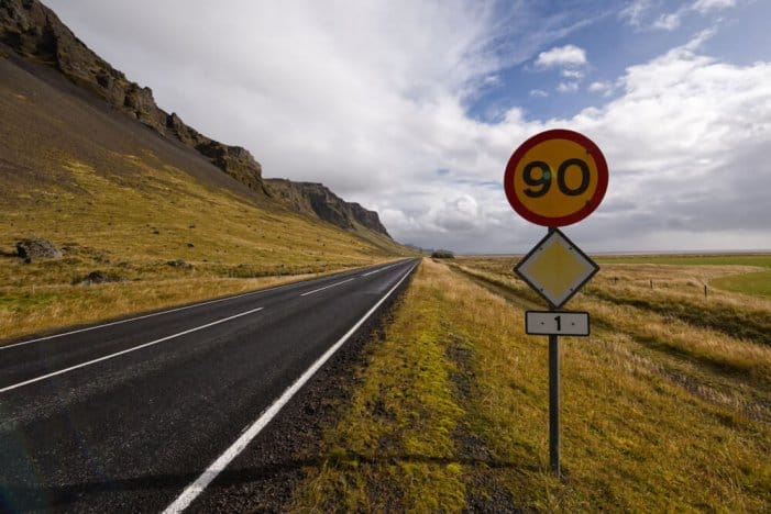 Speed sign of 90 km/h or 60 mph on Iceland's Ring Road
