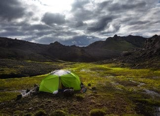 A tourist (hopefully) wild camping legally in Iceland