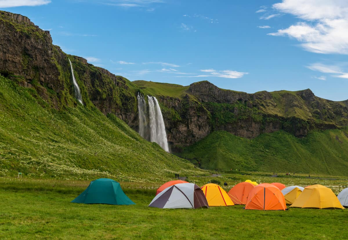 Tents staying legally at places like Skógafoss waterfall campsite