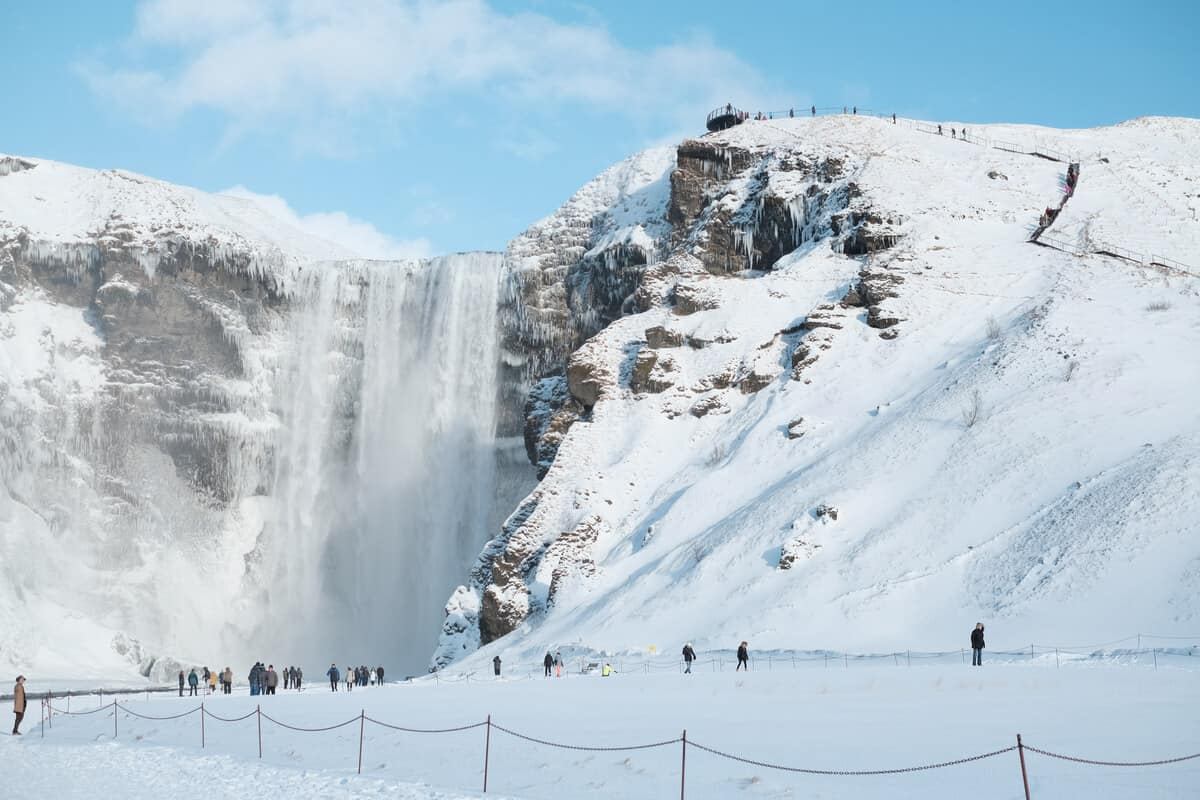 Staying warm and dry is a key winter travel tip or Iceland