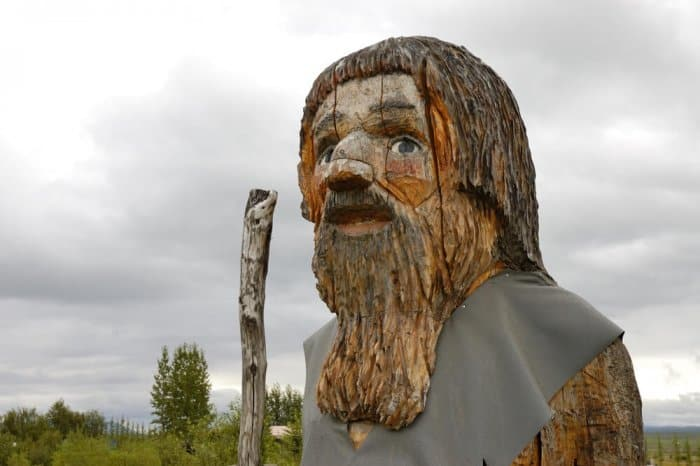 Wooden Iceland troll statue