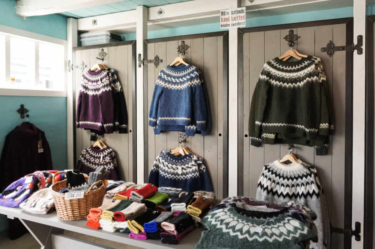 Traditional Icelandic lopapeysa wool sweaters in a shop