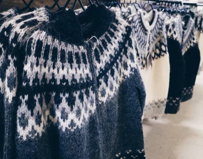 Traditional Icelandic lopapeysa wool sweater