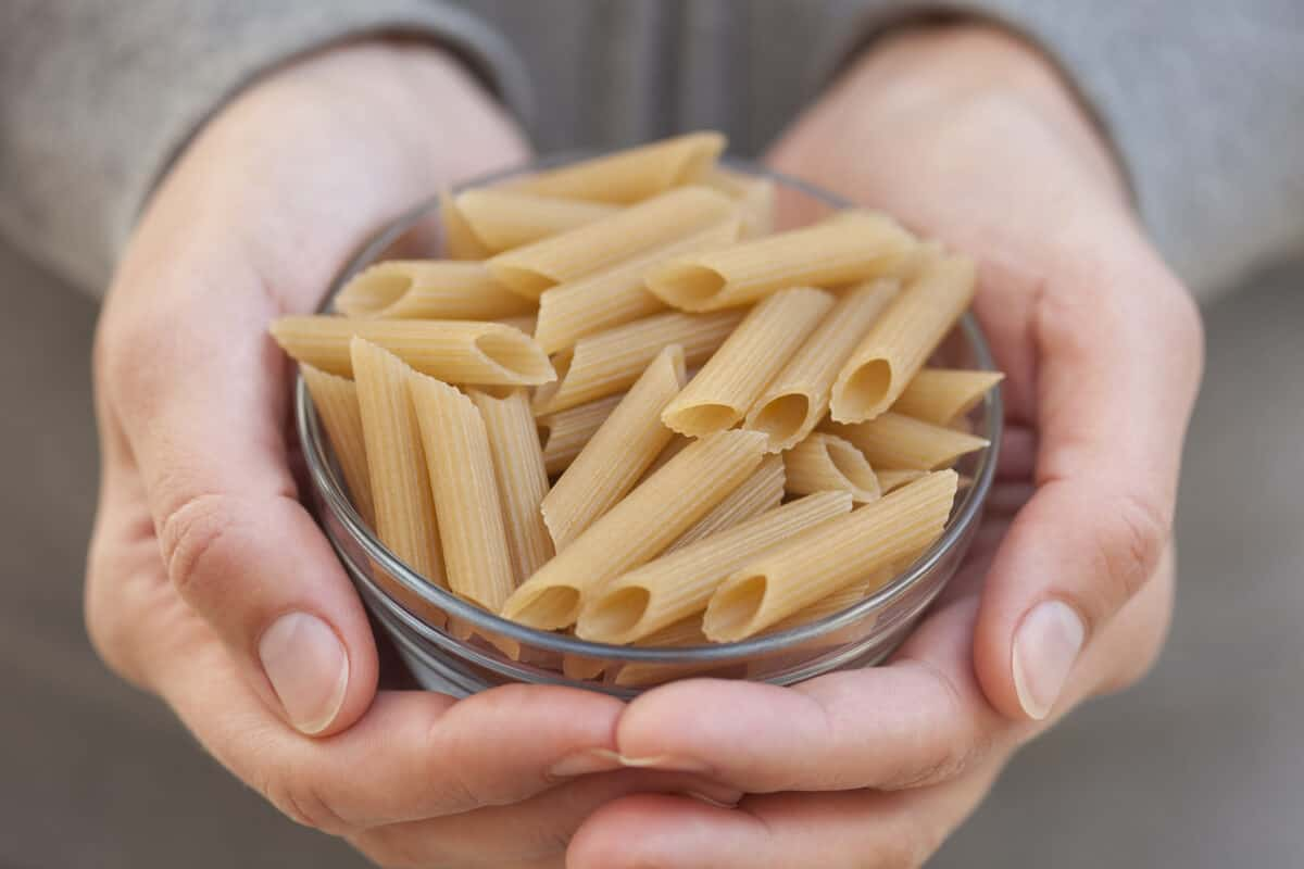 Close up of pasta in glass bowl, an Iceland camping cooking staple