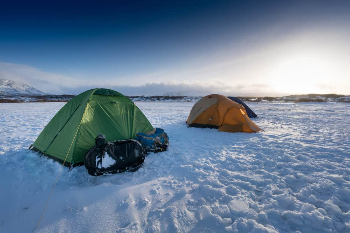 Tents camping at an Iceland campsite open all year long