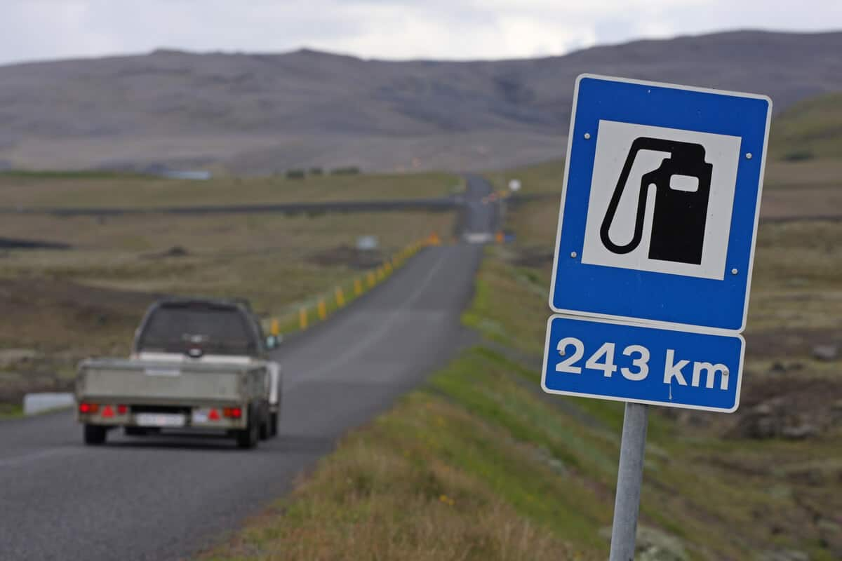 Sign for Iceland gas station. How much does it cost?