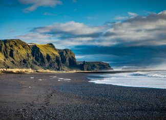 Iceland's famous black sand beach on the South Coast near Vik