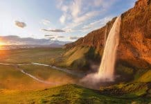 Seljalandsfoss valley and Midnight Sun