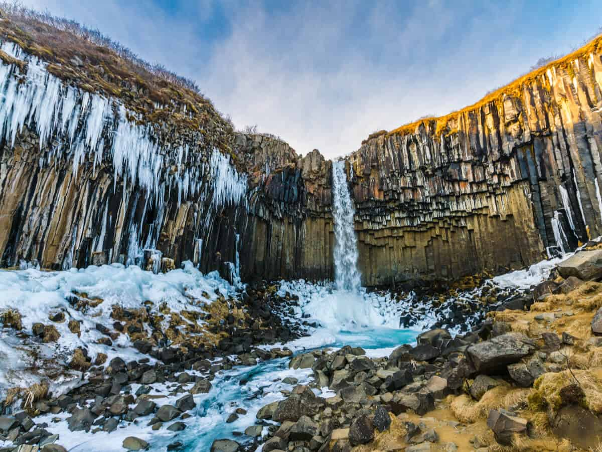 Iceland's Svartifoss waterfall in winter